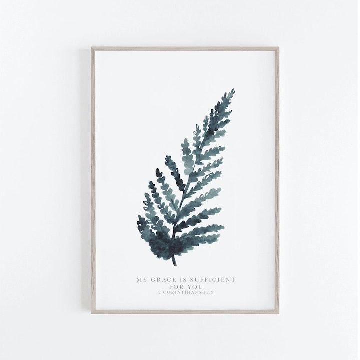 Botanical Blue Fern Print -  2 Corinthians 12:9 - Christian Lettering Company