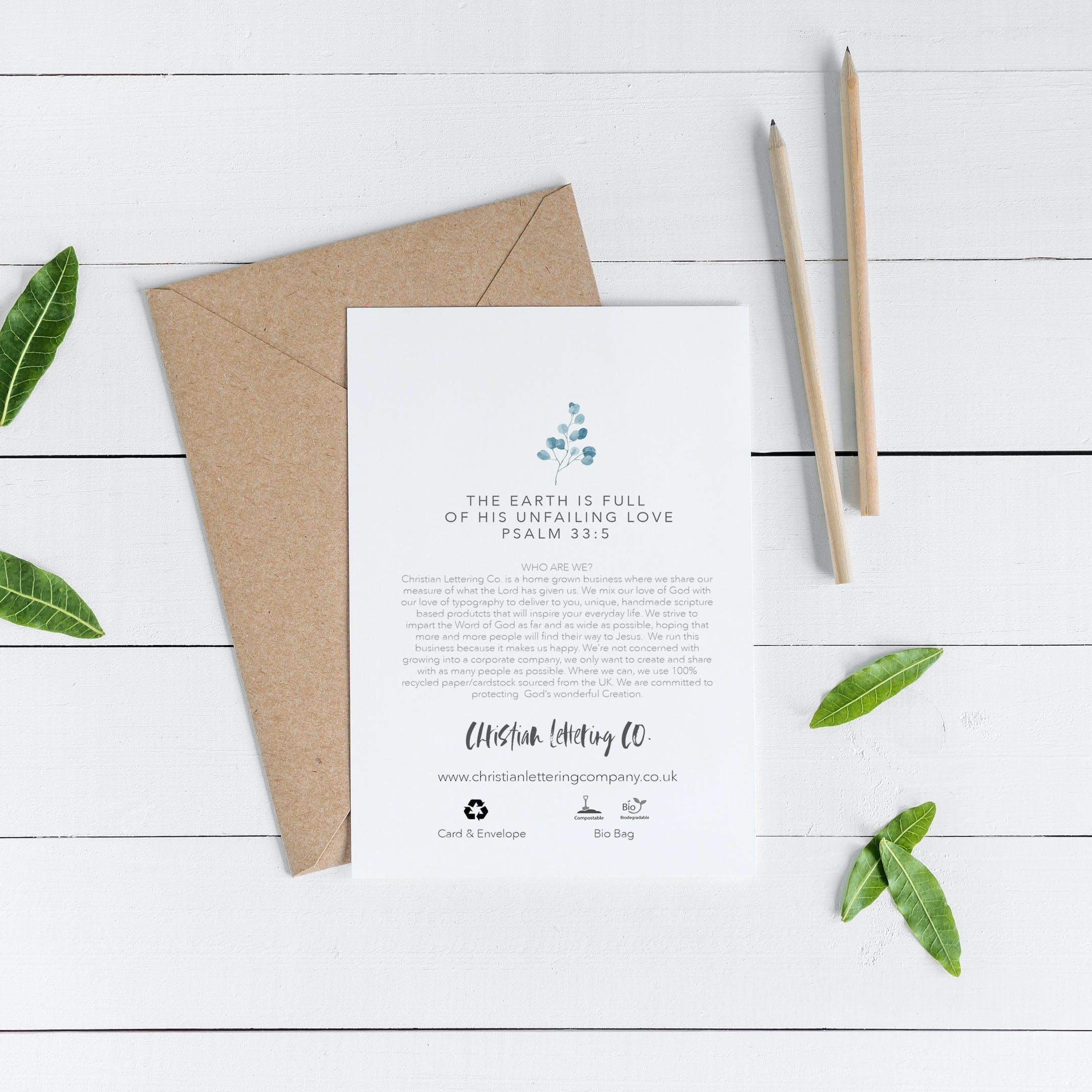Botanical Card Back - Psalm 33:5 - Christian Lettering Company
