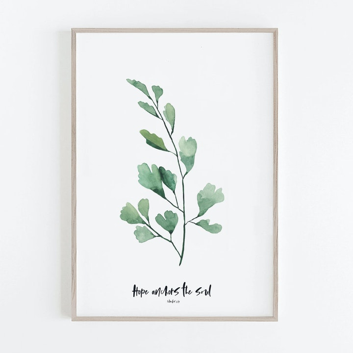 Botanical Green Maidenhead Print - Hebrews 6:19 - Hope Anchors The Soul - Christian Lettering Company