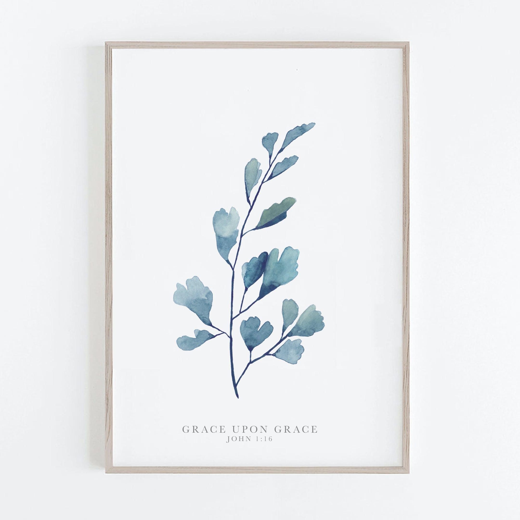 Botanical Maidenhead Fern Print - Grace upon Grace - John 1:16 - Christian Lettering Company