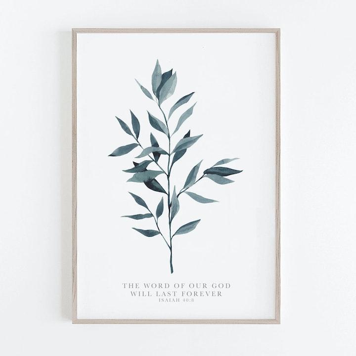Botanical Ruscus Fern Print - Isaiah 40:8 - Christian Lettering Company
