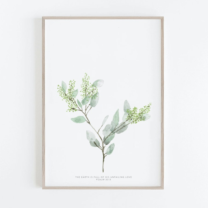 Botanical Seeded Eucalyptus Print - Psalm 33:5 - Christian Lettering Company