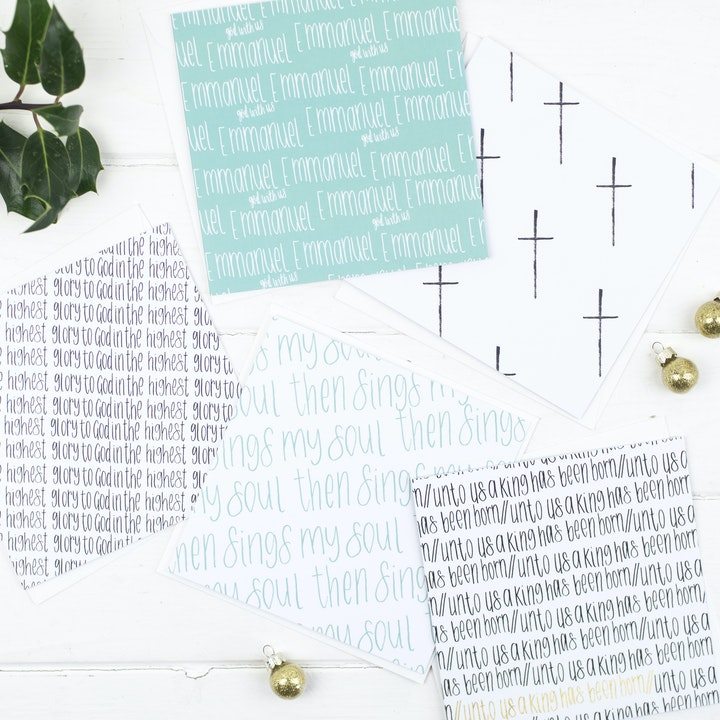 Carols At Christmas Contemporary - Set of Five Christmas Cards - Christian Lettering Company