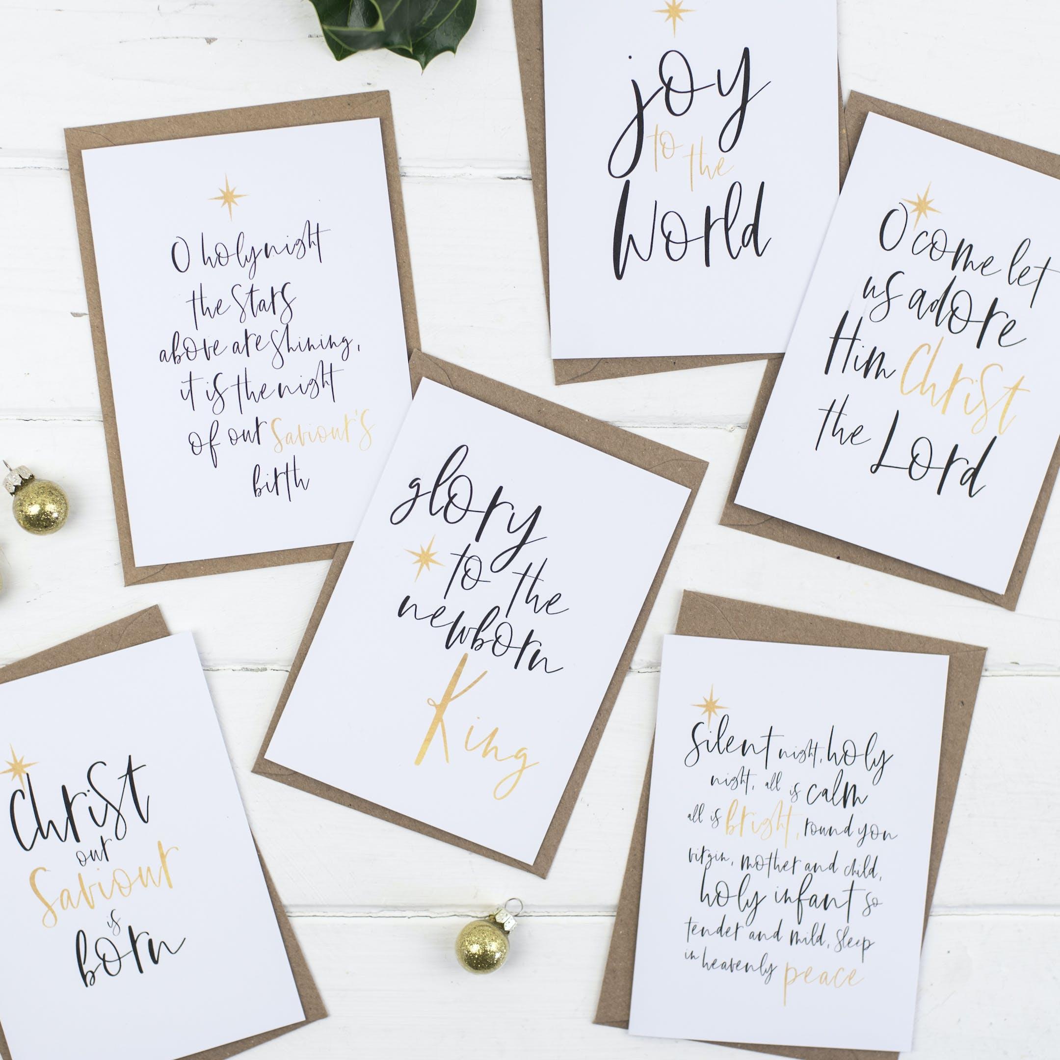 Carols At Christmas Gold - Set of Six Christmas Cards - Christian Lettering Company