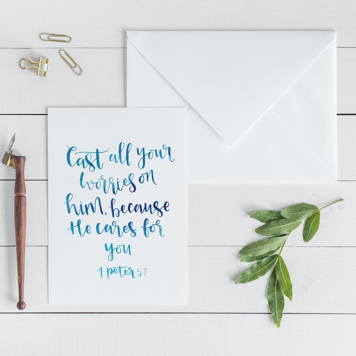 Cast All Your Worries On Him Card - 1 Peter 5:7 - Christian Lettering Company