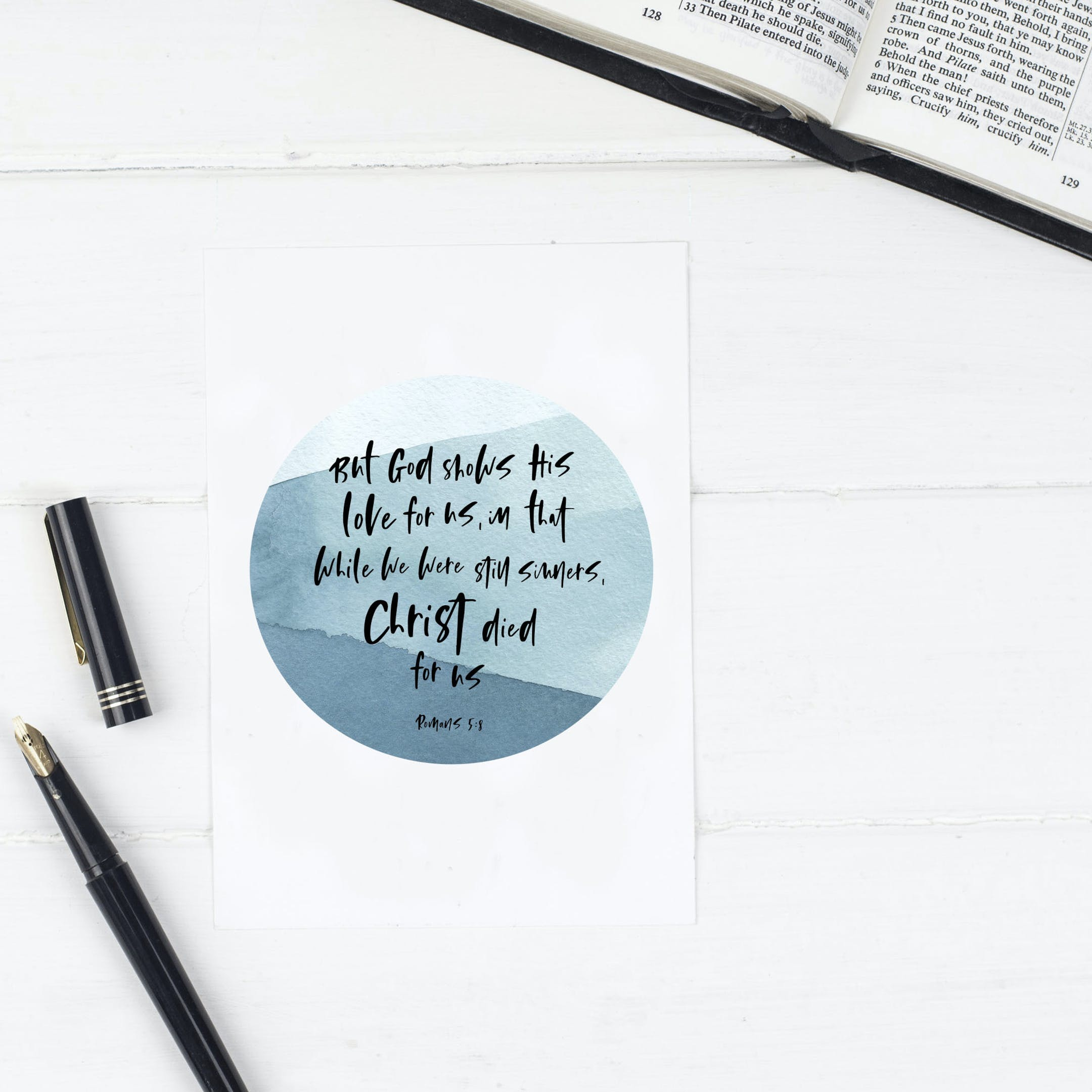 Christ Died For Us - Blue Circle Print - Romans 5:8 - Christian Lettering Company