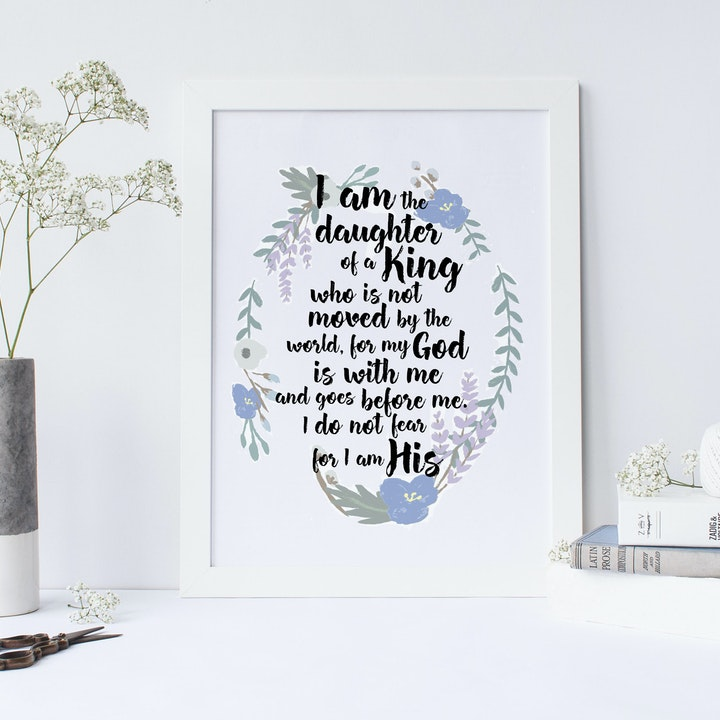 Daughter of a King Print - Christian Lettering Company