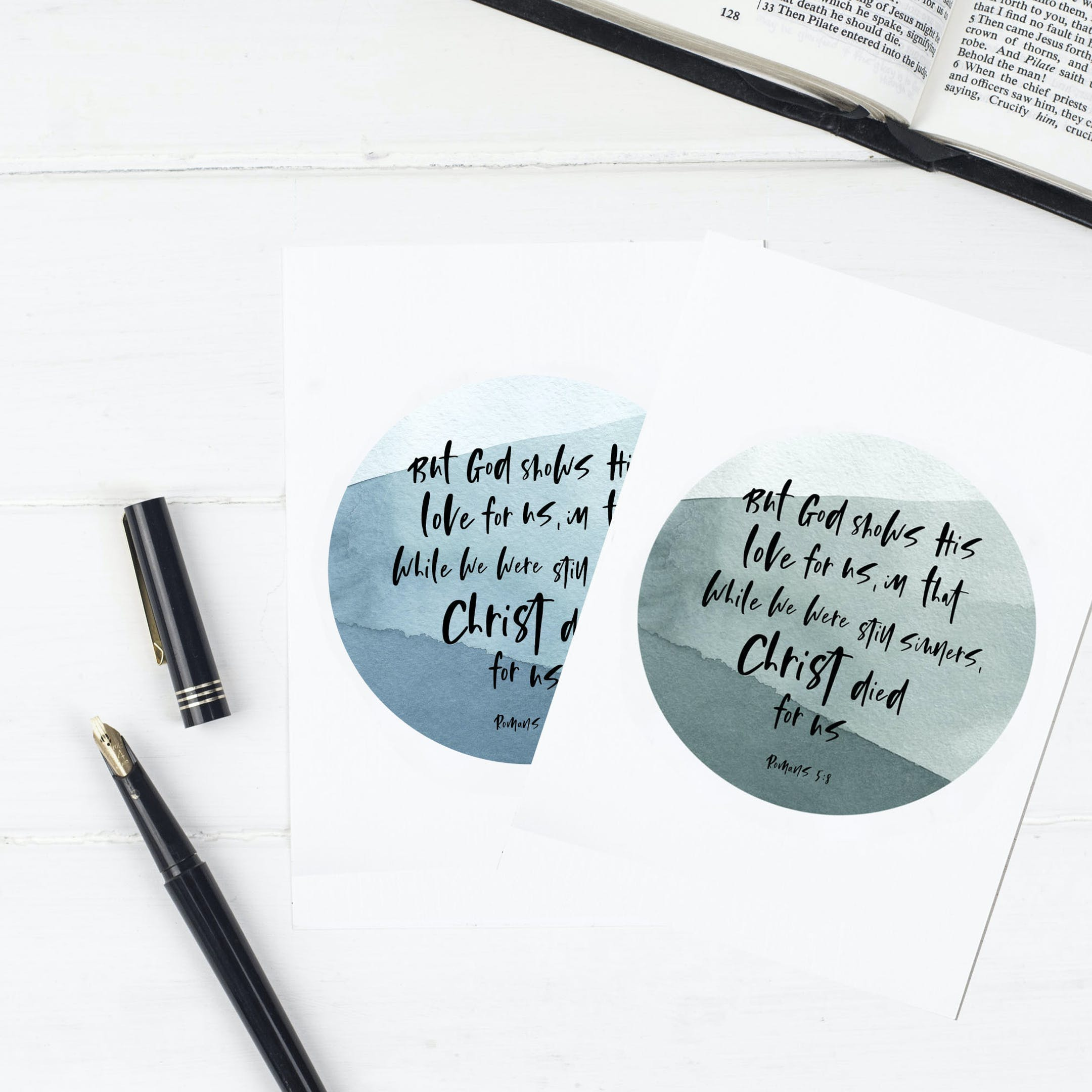 Easter Circle Christ Died For Us Print - Romans 5:8 - Christian Lettering Company