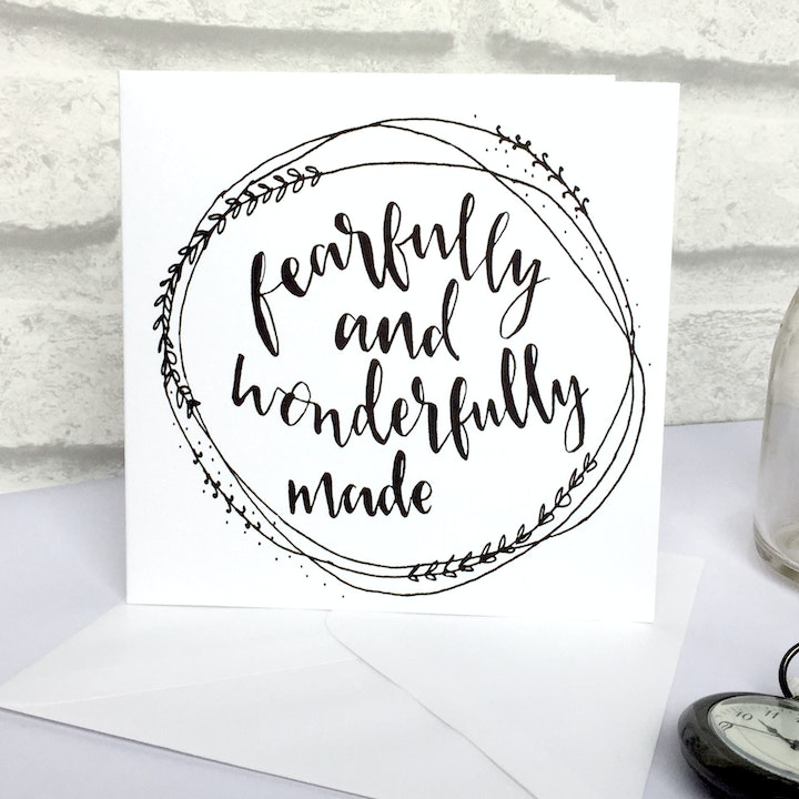 Fearfully & Wonderfully Made Card - Psalm 139:14 - Christian Lettering Company