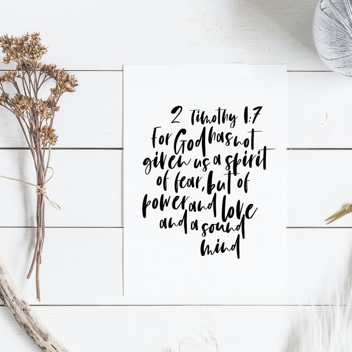 For God Has Not Given Us A Spirit Of Fear Minimalist Print - 2 Timothy 1:7 - Christian Lettering Company