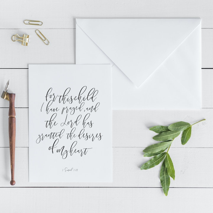 For This Child I Have Prayed Card - 1 Samuel 1:27 - Christian Lettering Company