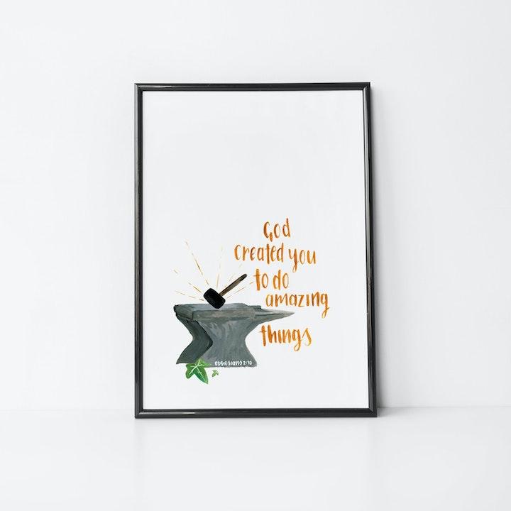God Created You Watercolour Print - Ephesians 2:10 - Christian Lettering Company