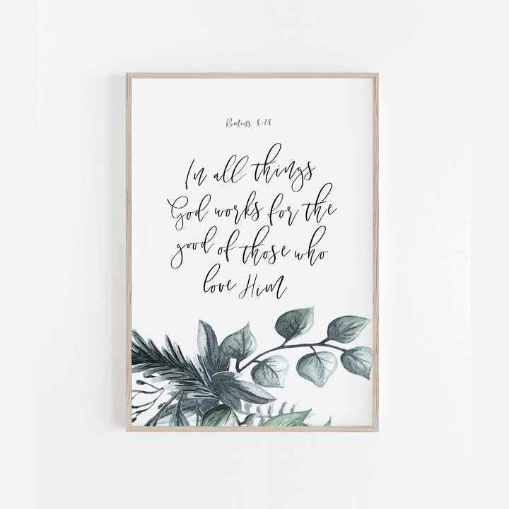 In All Things Botanical Print - Romans 8:28 - Christian Lettering Company