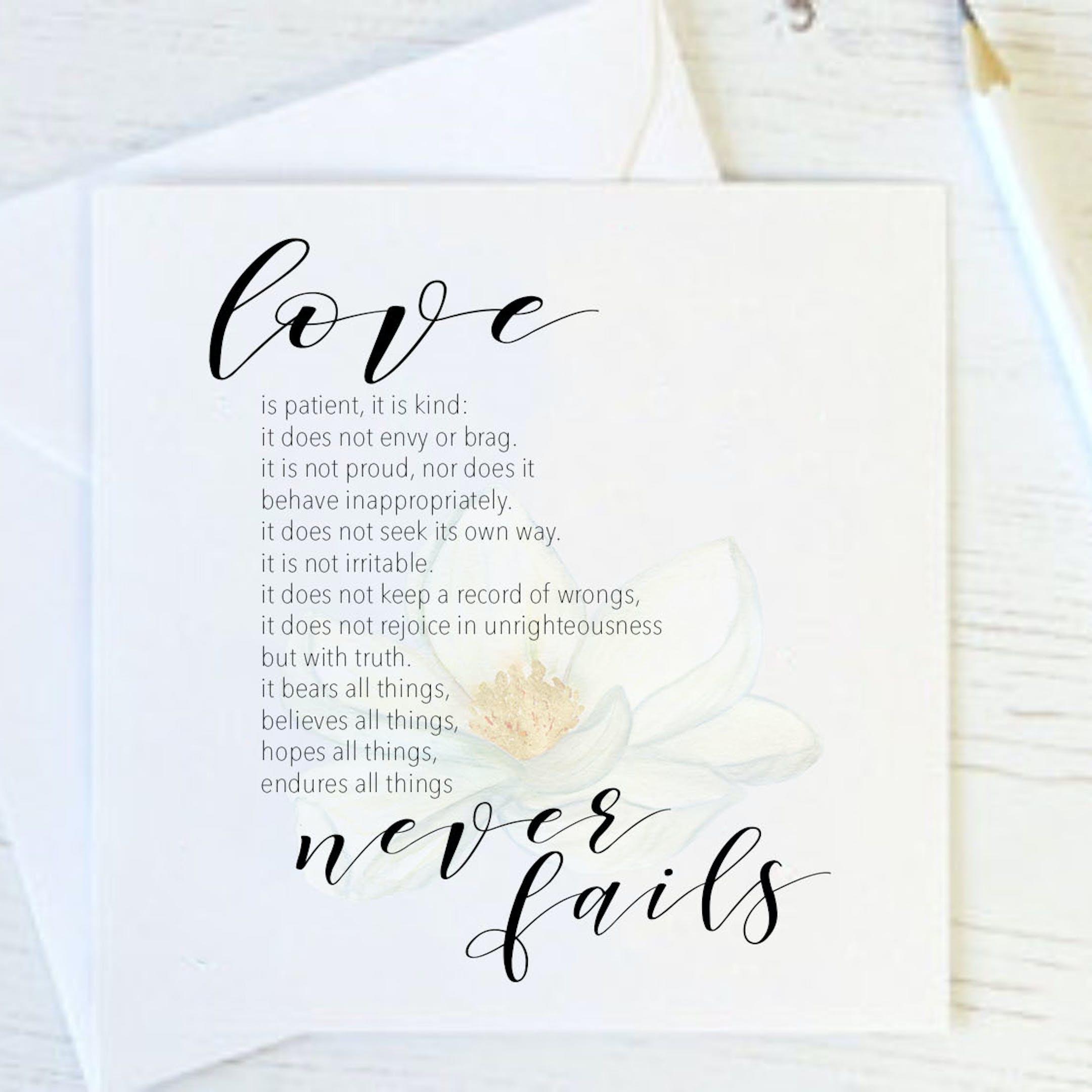Love Never Fails Floral Card - 1 Corinthians 13:4-8 - Christian Lettering Company