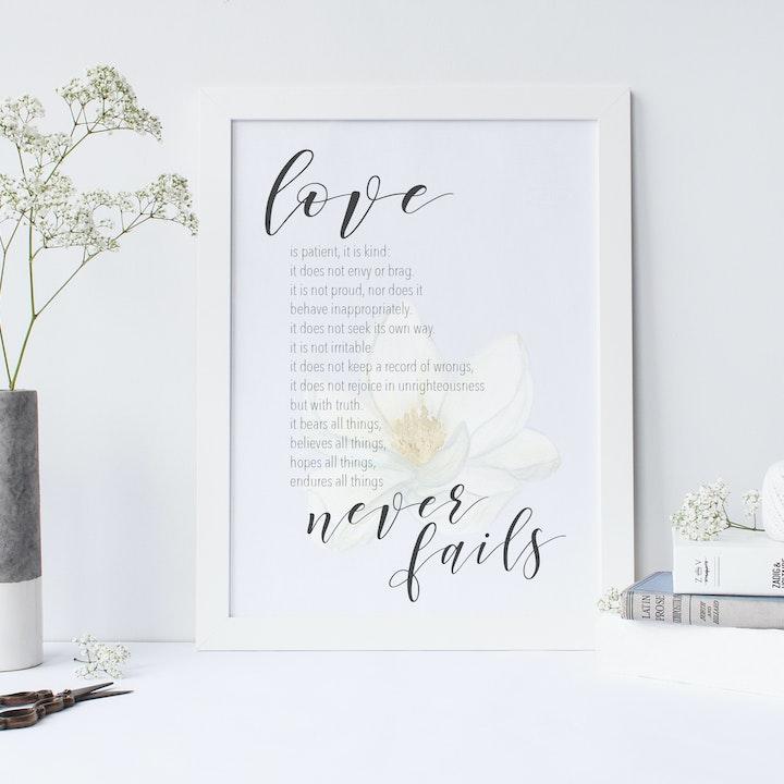 Love Never Fails Floral Print -  1 Corinthians 13:4-8 - Christian Lettering Company
