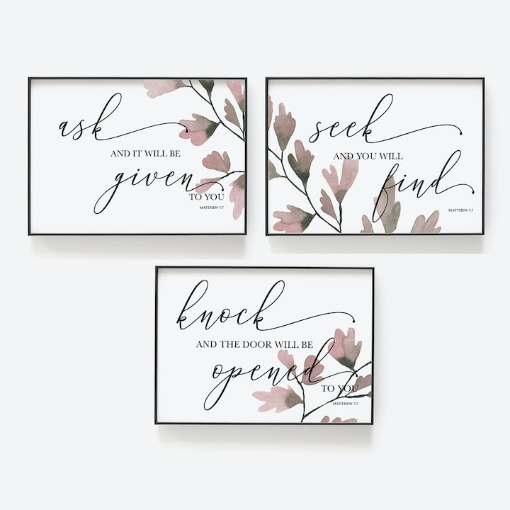 Matthew 7:7 Set Of Three Botanical Prints - Christian Lettering Company
