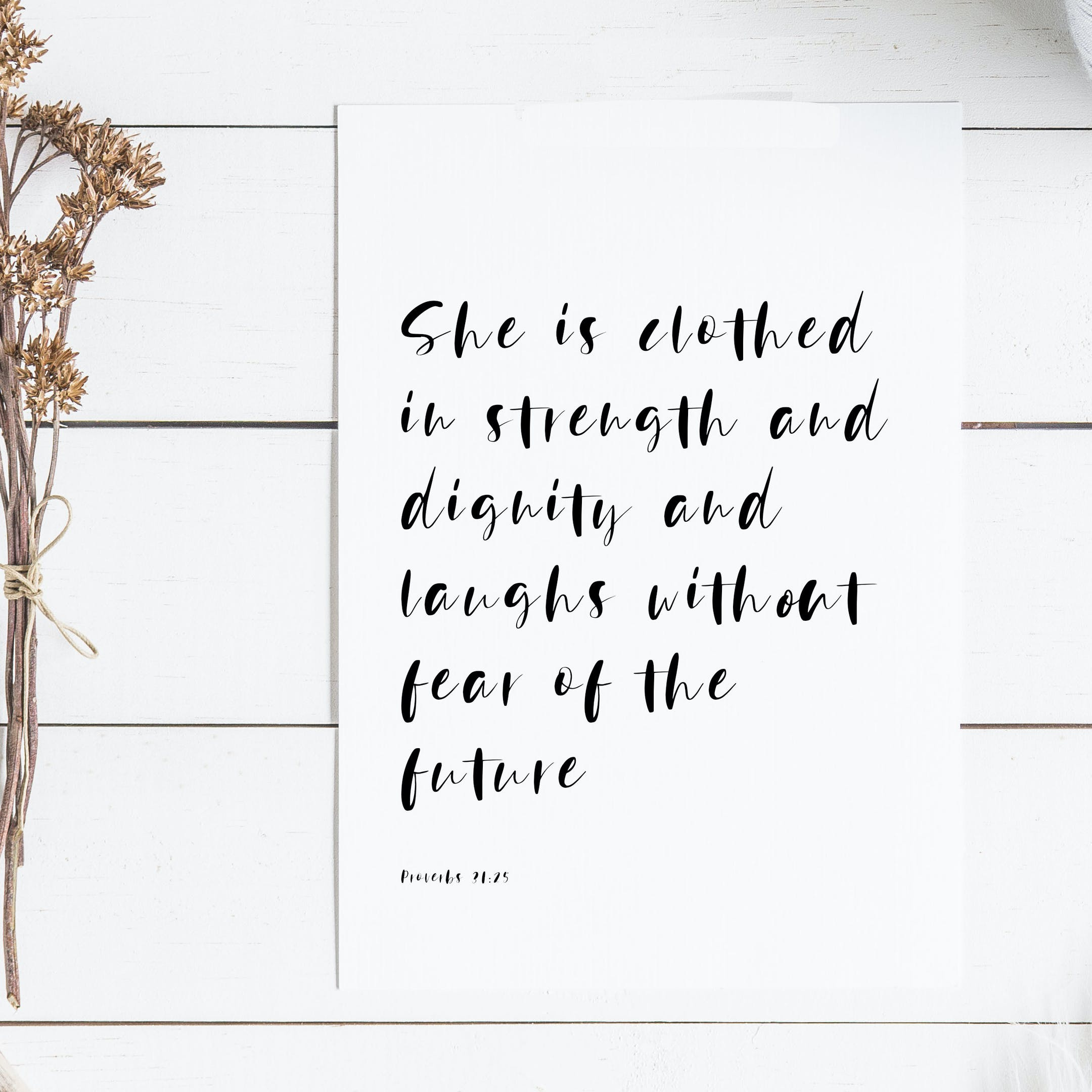 Proverbs 31:25 Print - Christian Lettering Company