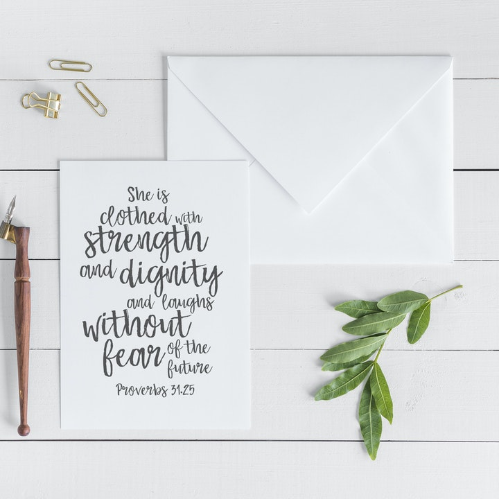She Is Clothed With Strength And Dignity Card - Proverbs 31:25 - Christian Lettering Company
