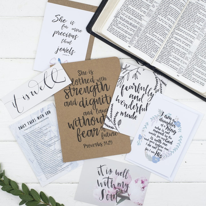 She is Clothed Prayer Journal Gift Set for Her - Proverbs 31:25 - Christian Lettering Company