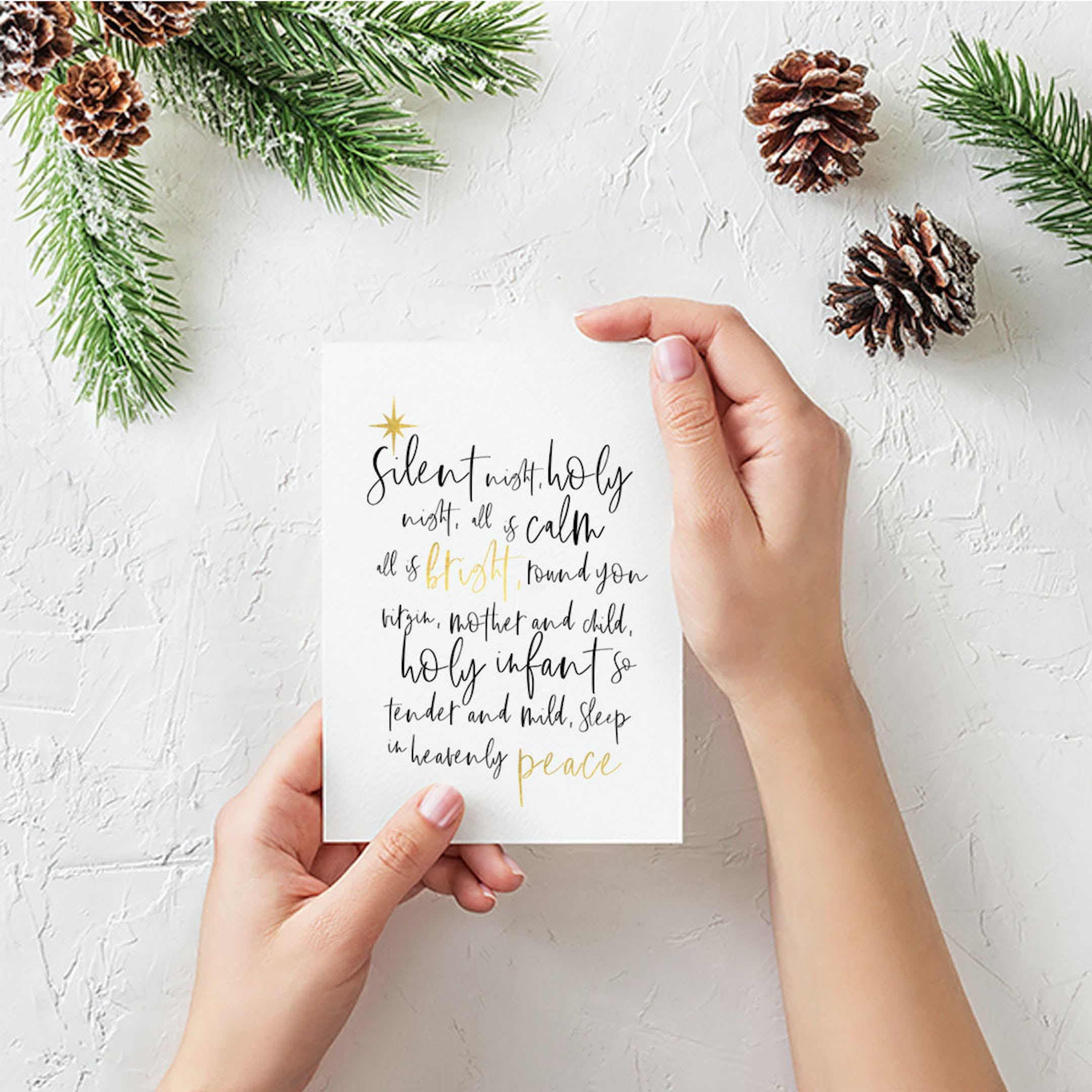 Silent Night - Carols at Christmas Gold Card - Christian Lettering Company