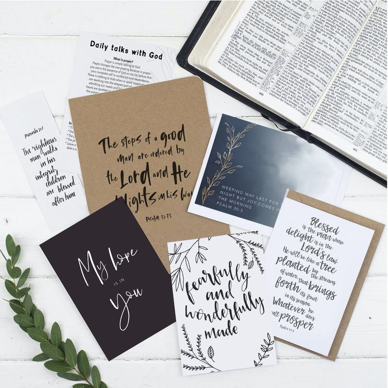 Monochrome coloured Bible journaling set including notebooks and prints featuring the verse the steps of a good man | Made by Christian Lettering Company @ Cheerfully Given