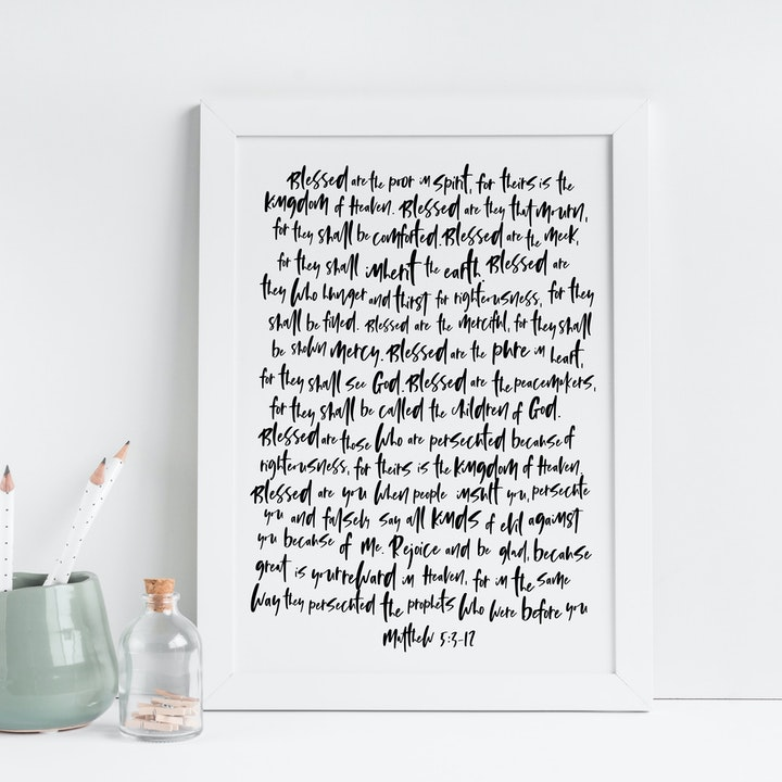 The Beatitudes Print - Matthew 5:3-12 - Christian Lettering Company