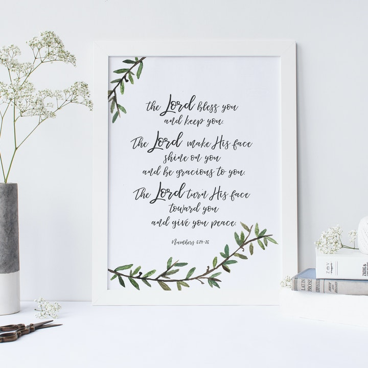 The Lord Bless You A4 Print - Numbers 6:24-26 - Christian Lettering Company