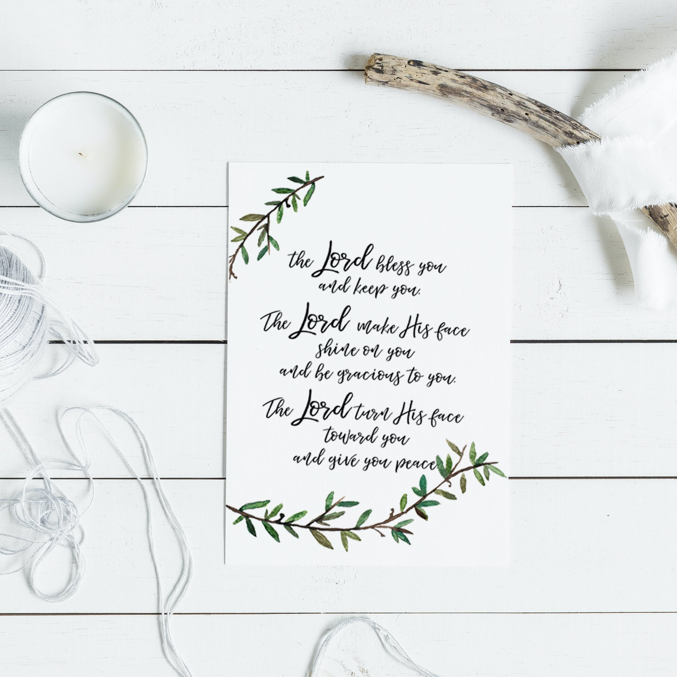 The Lord Bless You Card - Numbers 6:24-26 - Christian Lettering Company