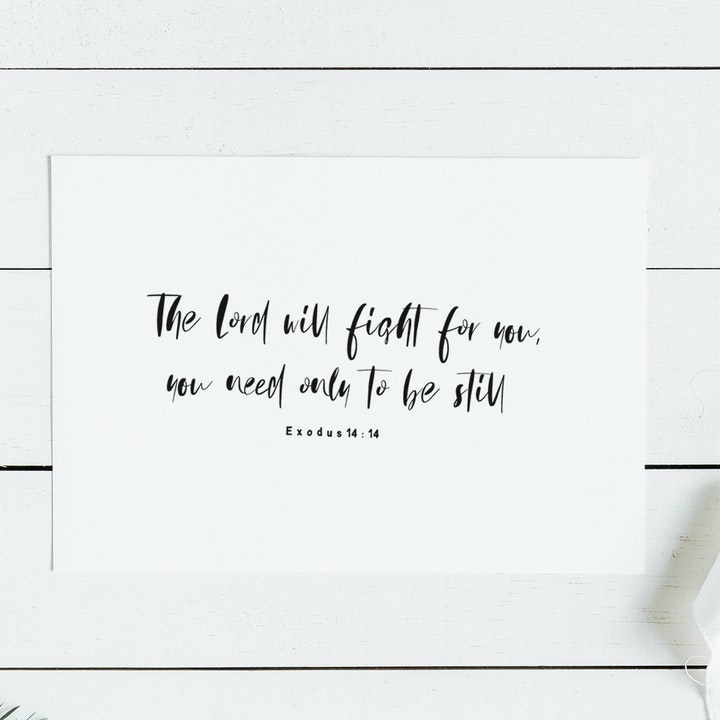 The Lord Will Fight For You Minimalist Print - Exodus 14:14 - Christian Lettering Company