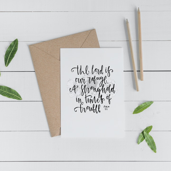 The Lord is Our Refuge Greeting Card - Psalm 9:9 - Christian Lettering Company