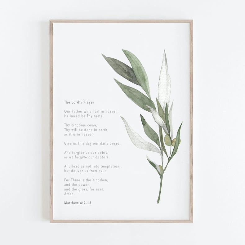 The Lords Prayer Botanical Christian Print | Christian Lettering Company | Cheerfully Given