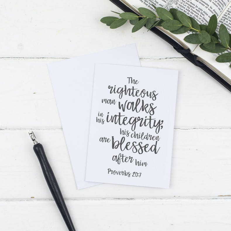 The Righteous Man Christian Father's Day Cards by Christian Lettering Company at Cheerfully Given