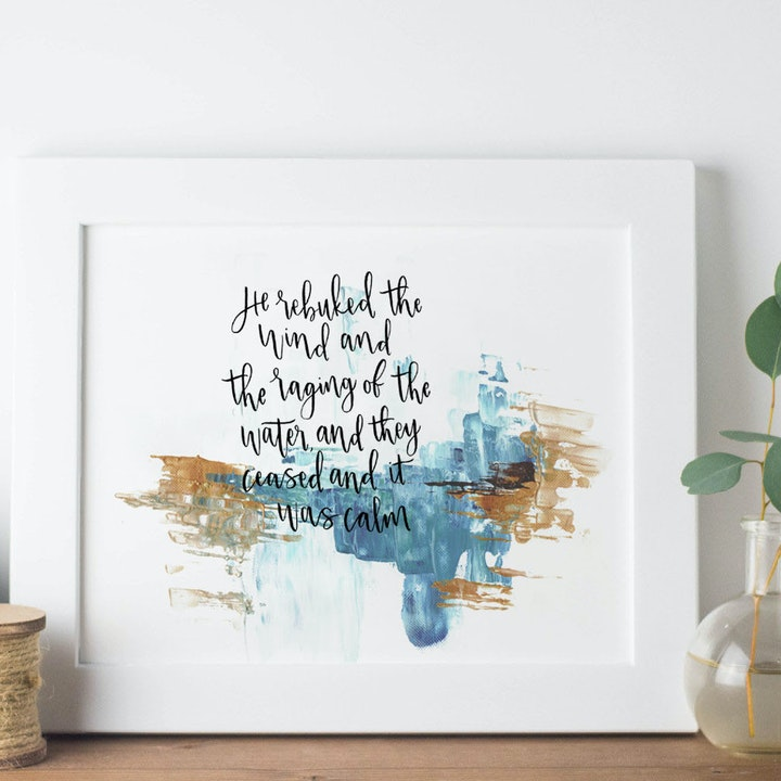 The Sea of Galilee Print - Mark 4:39 - Christian Lettering Company
