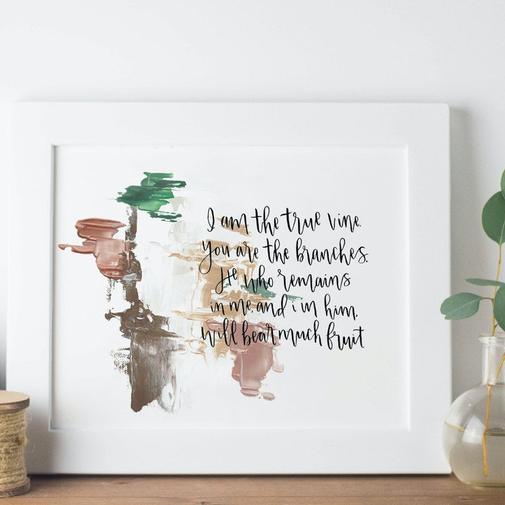 The True Vine Print - John 15:5 - Christian Lettering Company
