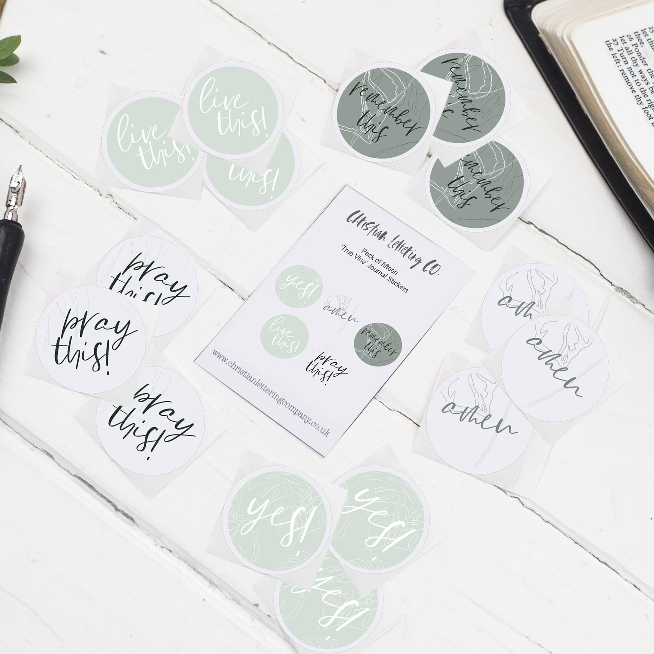 True Vine Bible Journal Stickers - Christian Lettering Company