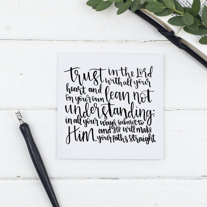 Trust In The Lord Card - Proverbs 3:5-6 - Christian Lettering Company