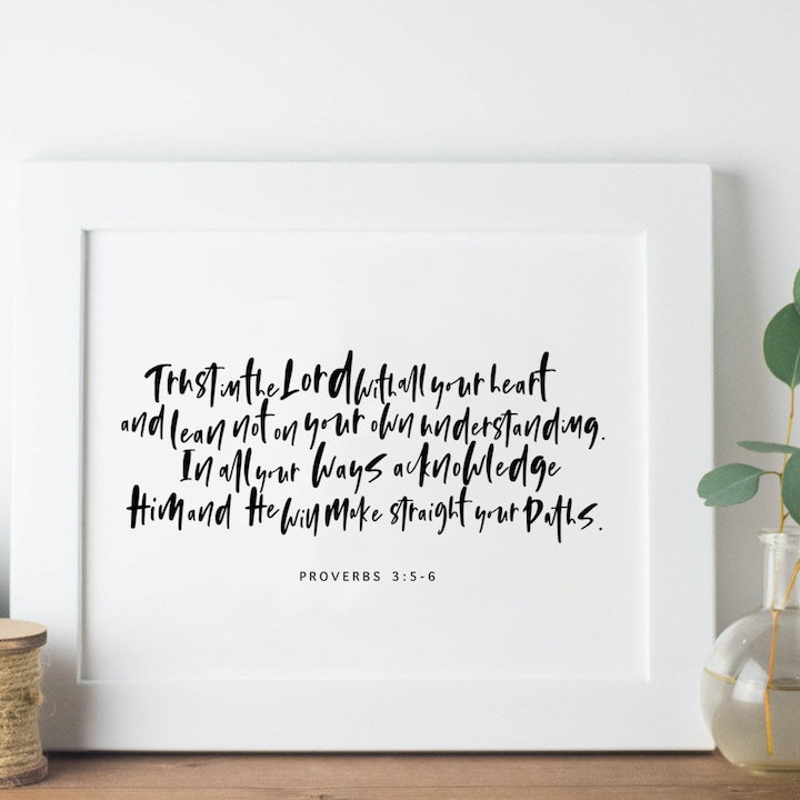 Trust In The Lord Print - Proverbs 3:5-6 - Christian Lettering Company