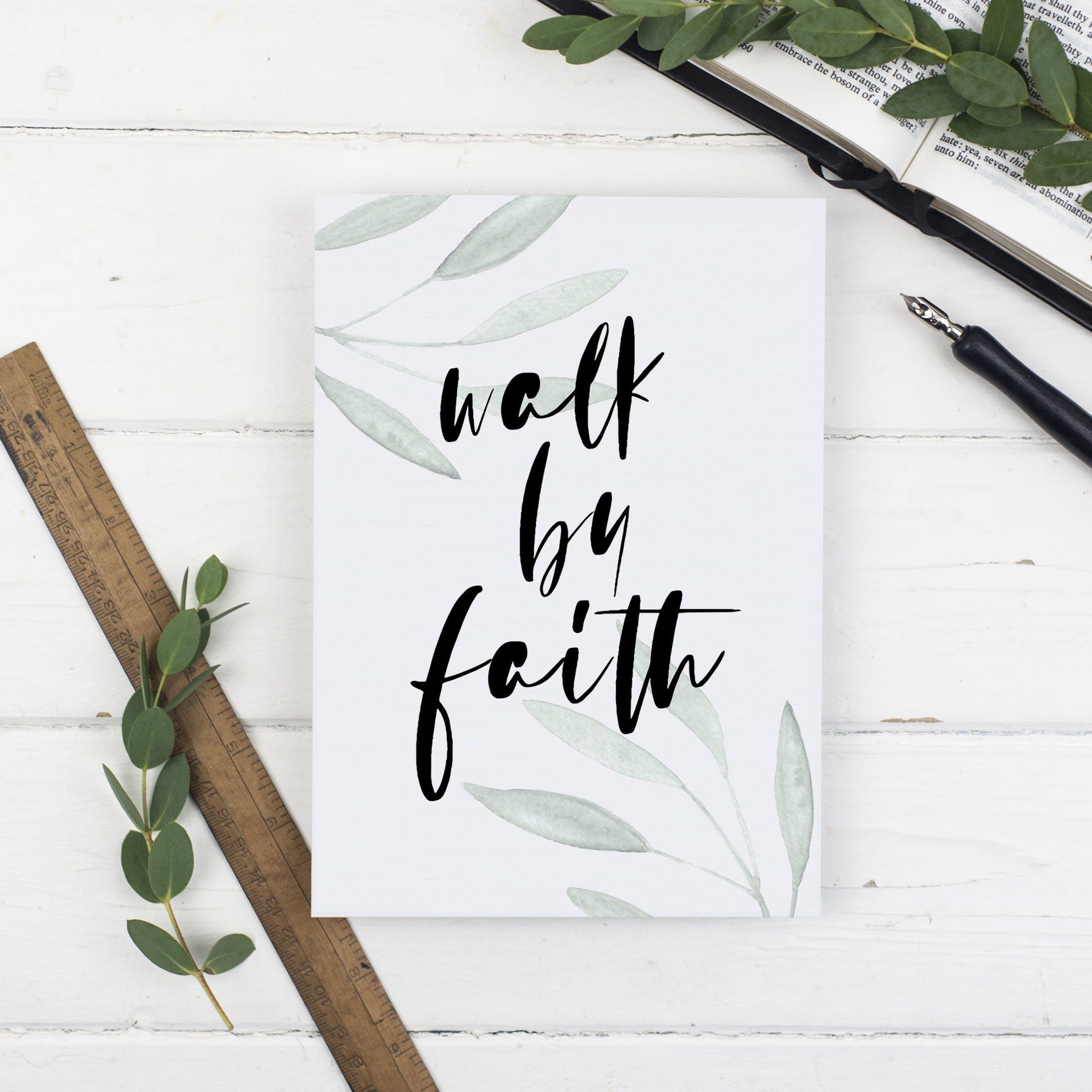Walk By Faith Botanical Print - 2 Corinthians 5:7 - Christian Lettering Company