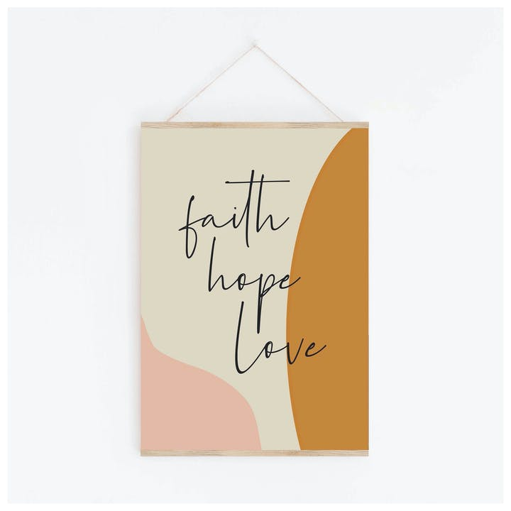 Faith Hope Love Bible Verse Print | Copper Bee | Cheerfully Given - Christian Wall Art UK