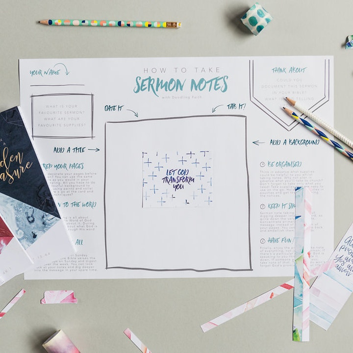 A3 worksheet explaining creative Sermon Note Taking ideas by Doodling Faith @ Cheerfully Given