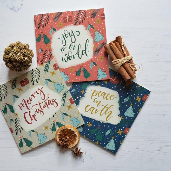 Bright Foliage Christmas Card Set | Faithfully Flourished | Cheerfully Given - Christian Christmas Cards