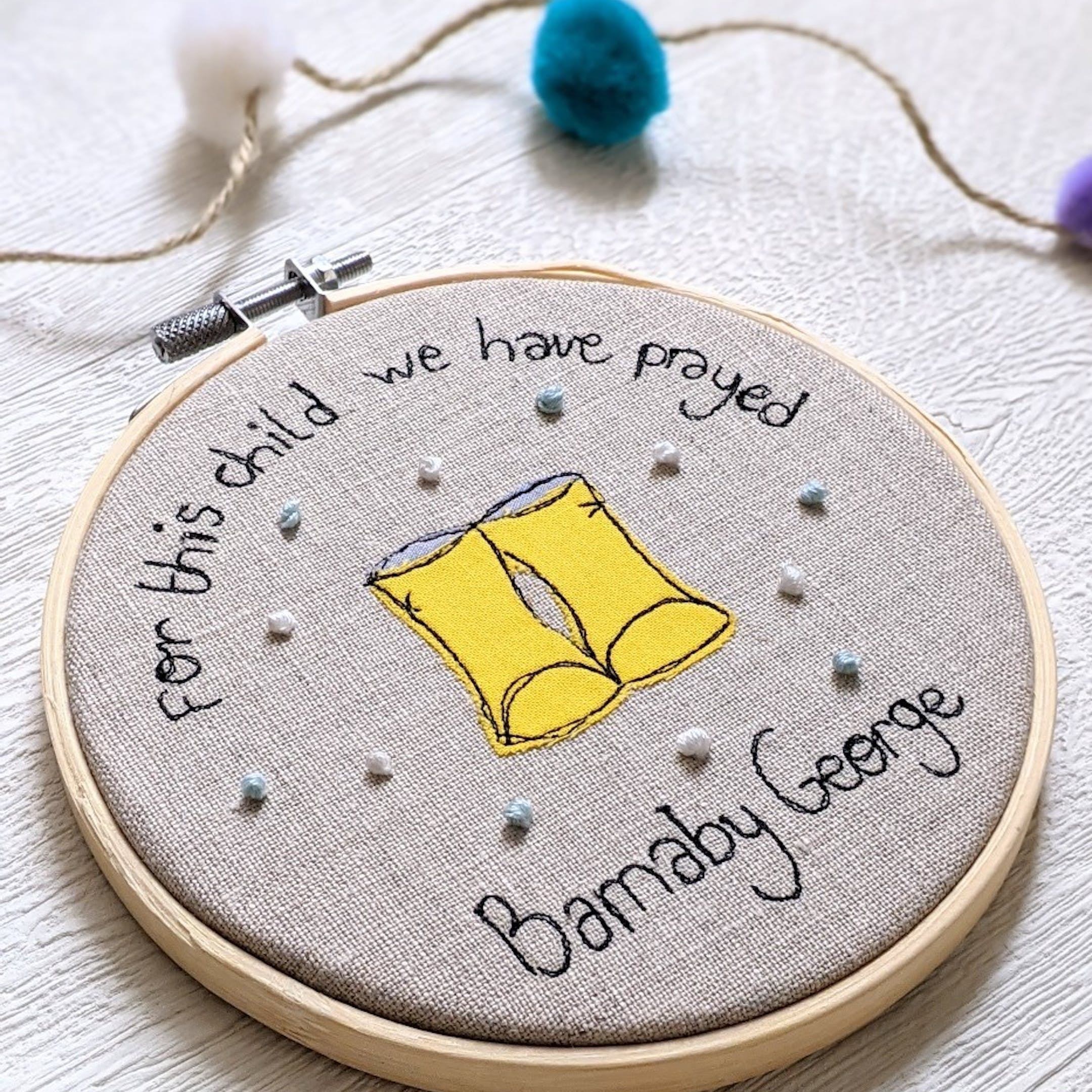 Ellen Hopkin Creates For This Child Embroidery Hoop | Cheerfully Given - Religious New Baby Gifts