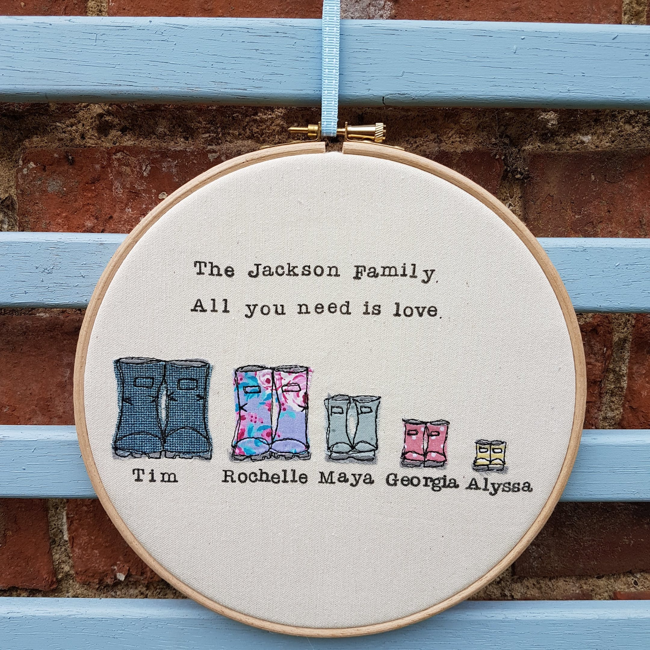 Hoopla with four wellies appliqued on and personalised family name by Faith in Fabric   Cheerfully Given - Christian Textile Art UK