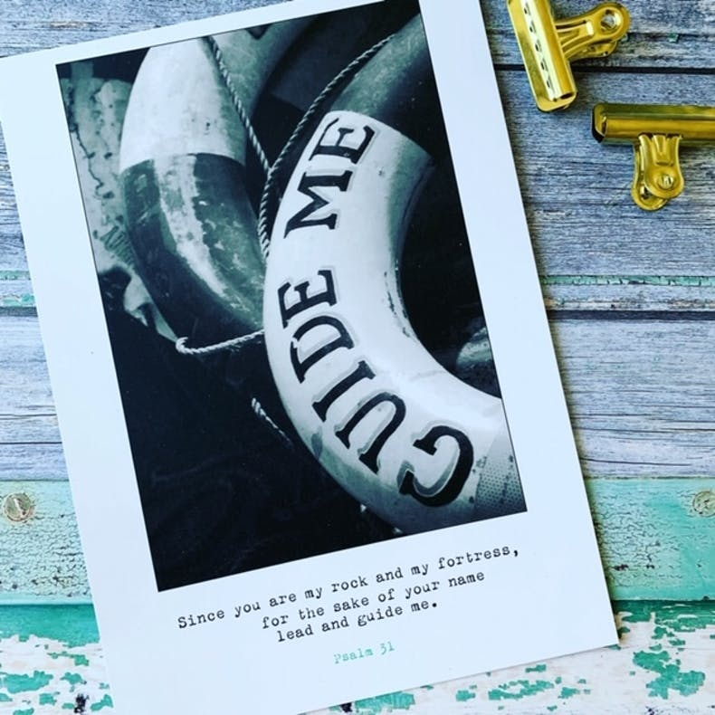 A b&w photo of lifebuoy ring with words guide me on it, Scripture of Psalm 31 printed underneath | Made by Frog and Gnome | Cheerfully Given