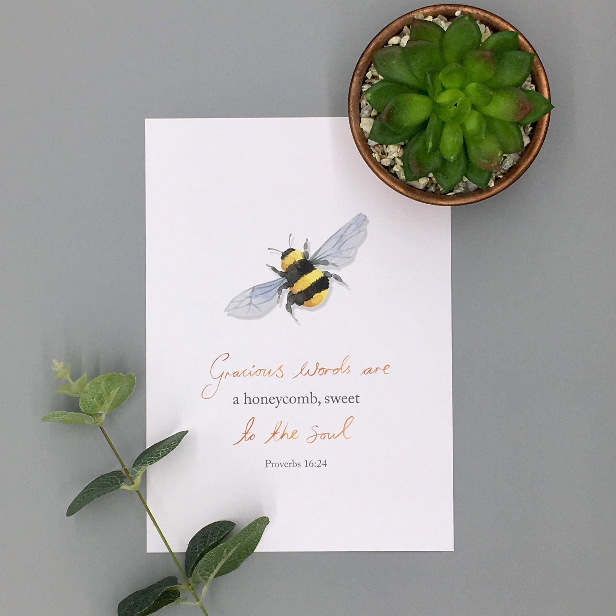 A4/A5 Honeycomb Print - Proverbs 16:24 - Forget-Me-Not Christian Cards