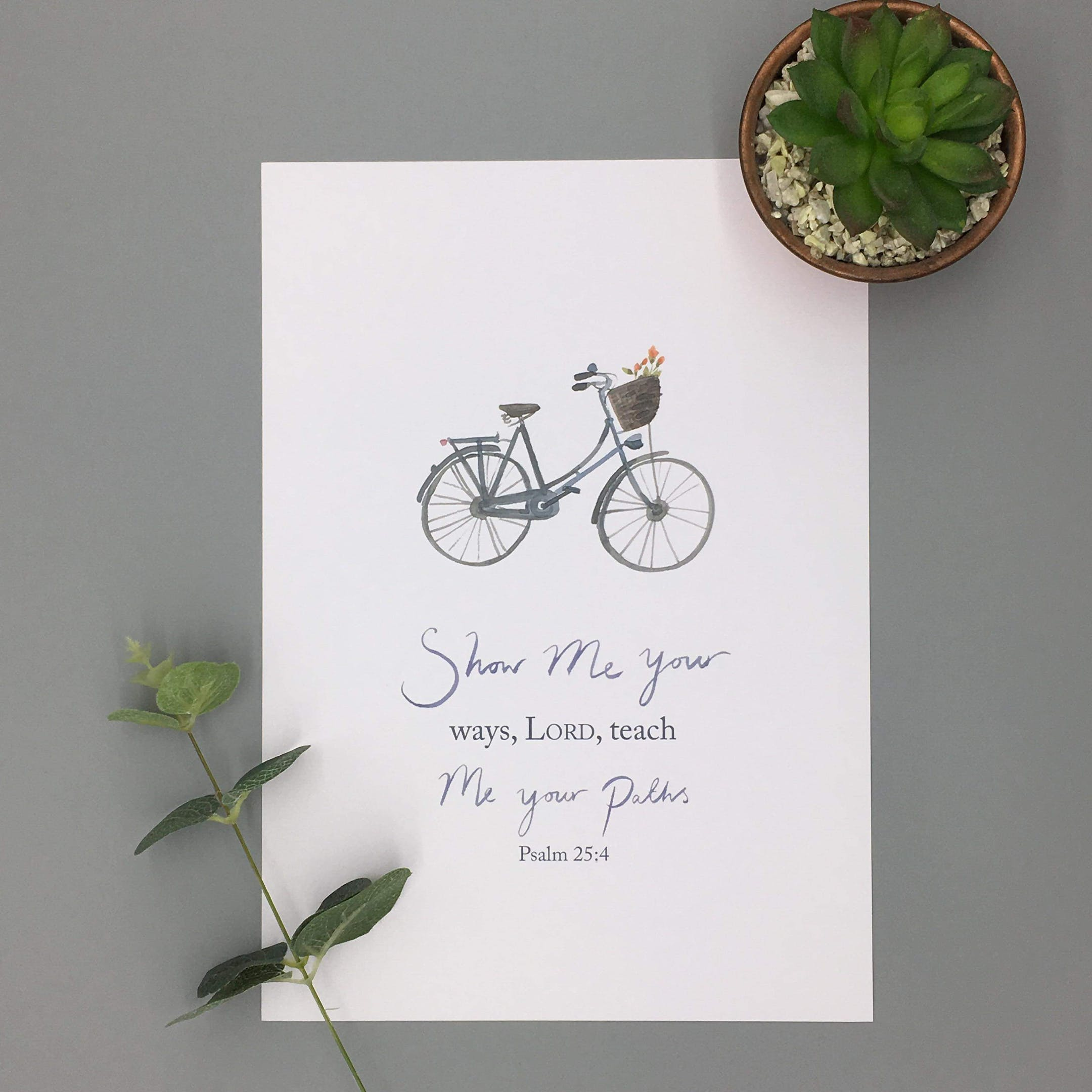 A4/A5 Teach Me Print - Psalm 25:4 - Forget-Me-Not Christian Cards
