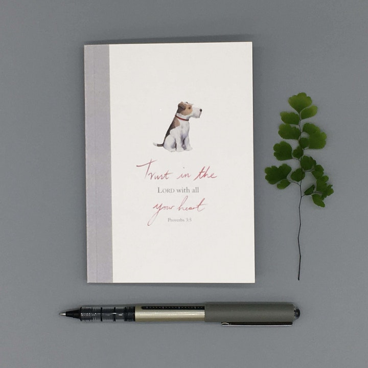 A6 Trust Notebook - Proverbs 3:5 - Forget-Me-Not Christian Cards