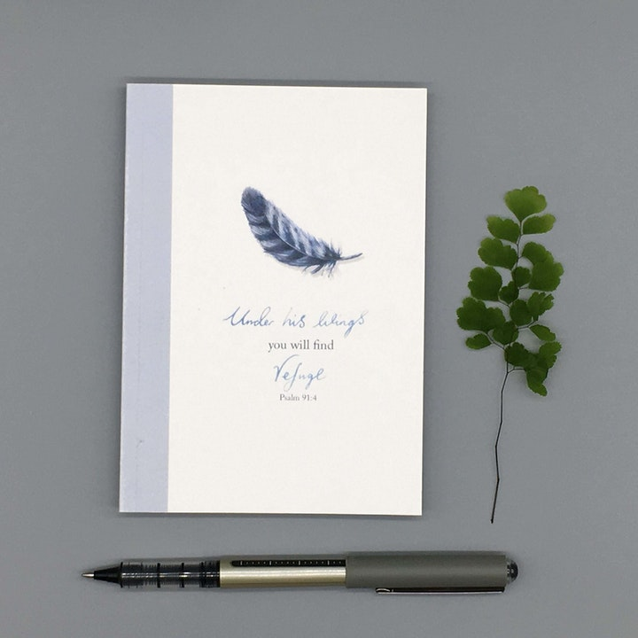A6 Under His Wings Notebook - Psalm 91:4 - Forget-Me-Not Christian Cards