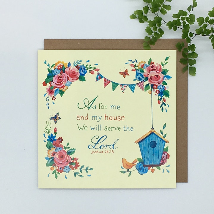 As For Me And My House Blank Card - Joshua 24:15 - Forget-Me-Not Christian Cards