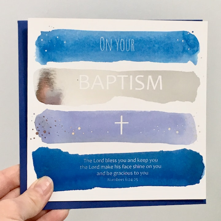 Baptism Blessing Card - Numbers 6:24-25 - Forget-Me-Not Christian Cards